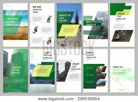 Creative Social Networks Stories Design, Vertical Banner, Flyer Templates With Green Colored Colorfu