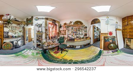 Grodno, Belarus - April 2019: Full Spherical Seamless Panorama 360 Degrees Angle View In Interior Of