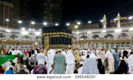 MECCA,SAUDI ARABIA-SEPTEMBER 24, 2016: Muslim piligrims doing the tawaf around Kaaba in Al-Haram Mosque in Mecca, the largest mosque in the world
