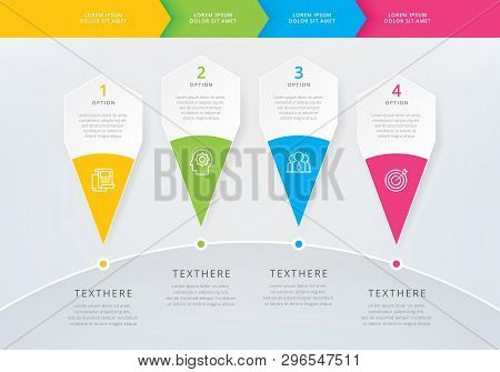 Vector Info-graphics Time-line Design Template With 3d Paper Label. Integrated Info-graphic Template