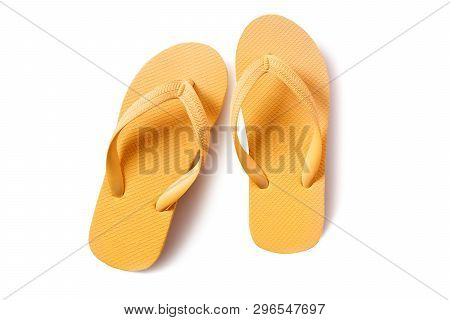 Flipflops Yellow Pair Isolated On White Background