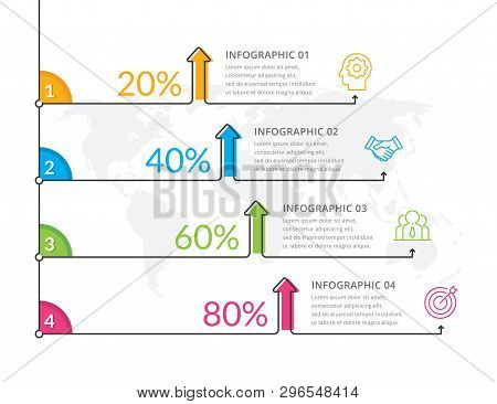 Vector Of Thin Line Info-graphics, Time-line Info-graphic Template. Info-graphic Template With Optio