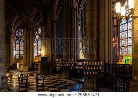 PARIS, FRANCE, SEPTEMBER 1, 2018 : Chapel in Notre Dame de Paris cathedral