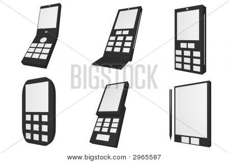 Mobile Phones Icons And Types Set