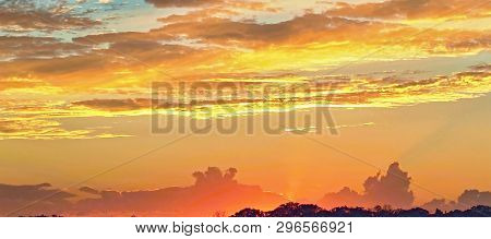 Colorfull Sunset In Vicinity Or Frazer Island With Both Cumulus And Stratocumulus Clouds Highlighted