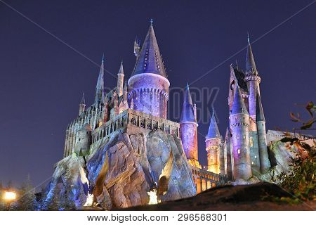 Orlando, Fl, Usa - Dec. 17, 2010: Harry Potter Castle In The Wizarding World Of Harry Potter In Univ
