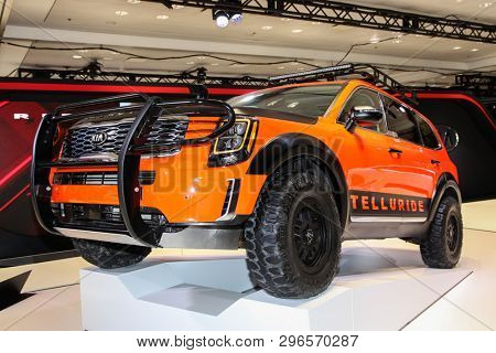 NEW YORK, NY, USA - APRIL 17, 2019: KIA Telluride shown at the New York International Auto Show 2019, at the Jacob Javits Center. This was Press Preview Day One of NYIAS