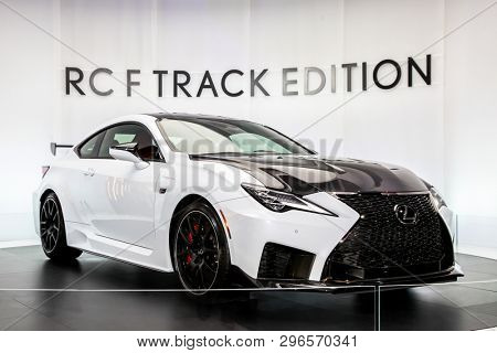 NEW YORK, NY, USA - APRIL 17, 2019: Lexus RC-F shown at the New York International Auto Show 2019, at the Jacob Javits Center. This was Press Preview Day One of NYIAS