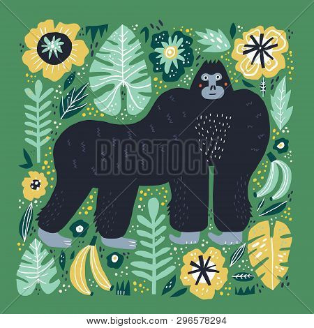 Gorilla Flat Hand Drawn Illustration. Cute Cartoon Primat Character On Botanical Background. Bananas