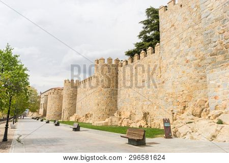 Tourism, Walls of the city of Avila in Castilla y León, Spain. Fortified medieval city
