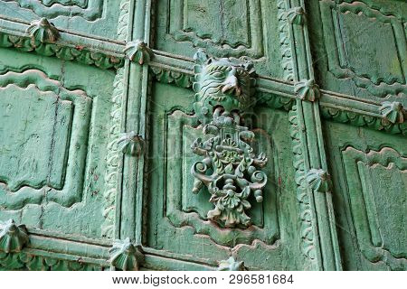 Decorated Green Front Door Of Puno Cathedral, Puno, Peru