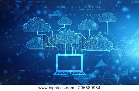 2d Rendering Cloud Computing, Cloud Computing Concept, Cloud Computing Technology Internet Concept B