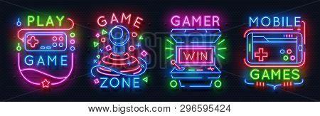 Neon Game Signs. Retro Video Games Night Light Icons, Virtual Gaming Club Emblems, Arcade Glowing Po