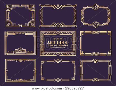 Art Deco Borders. 1920s Golden Frames, Nouveau Fancy Decorative Elements For Vintage Posters. Vector