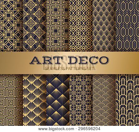 Art Deco Seamless Pattern. Luxury Geometric Nouveau Wallpaper, Elegant Classic Retro Ornament. Vecto