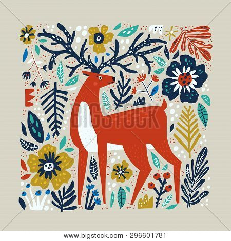 Deer Vector Hand Drawn Illustration. Wild Animal With Antlers Drawing In Scandinavian Style. Cute Ca
