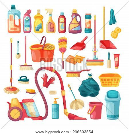 Household Set And Cleaning Supplies Icons. Cartoon Vector Illustration With Cleaning Products, House
