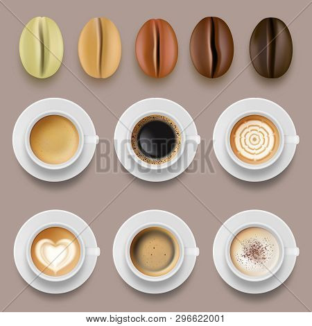 Coffee Beans And Cups. Hot Drinks Arabica Coffee Roast Agricultural Vector Collection. Illustration