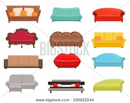 Sofa Collection. Comfortable Couch And Sofa-bed Set, Interior Fashion Sofas Furniture, House Modern
