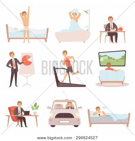 Active Man Daily Routine. Lifestyle Everyday Businessmen Work Busy People Vector Character Isolated.