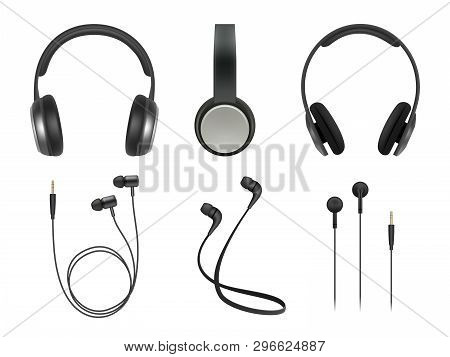 Music Earphones. Quality Electronic Items Stereo Headphones Technology Vector Realistic Pictures. He