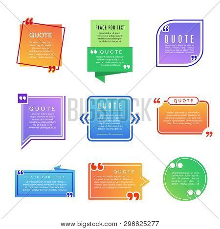 Quote Boxes. Paragraph Marks Comments Shapes Vector Design Template. Illustration Of Comment Quote,
