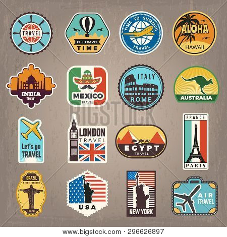 Travel Stickers. Vacation Badges Or Logos For Travelers Vector Retro Pictures. Illustration Of Trave