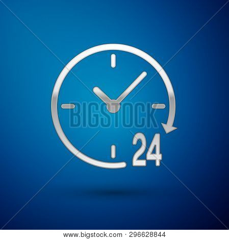 Silver Clock 24 hours icon isolated on blue background. All day cyclic icon. 24 hours service symbol. Vector Illustration poster