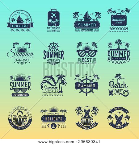 Summer Travel Logos. Retro Tropical Vacation Badges And Symbols Palm Tree Drinks Beach Tour On Islan
