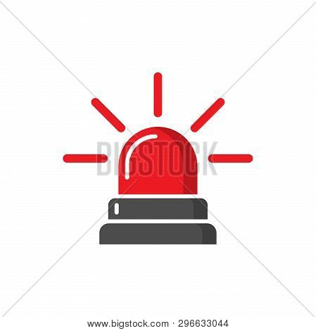 Emergency Siren Icon In Flat Style. Police Alarm Vector Illustration On White Isolated Background. M