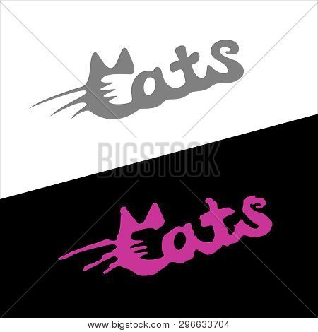 Cats Word Stylish Fashion Logo With Ears And Whiskers.