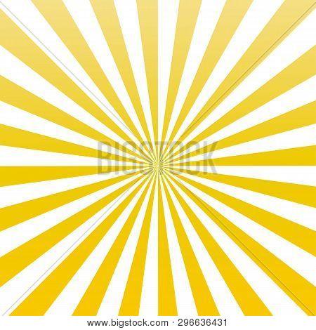 Yellow Color Sun Rays Sunburst Pattern Vector.  Yellow Sun Rays Sunburst Background.