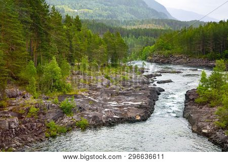 Mountain River With A Waterfall In Norway. Landscape Of Norway. Summer Landscape In The Mountains Of