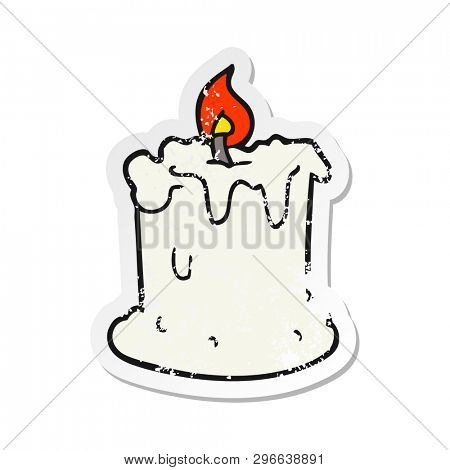 retro distressed sticker of a cartoon dribbling candle
