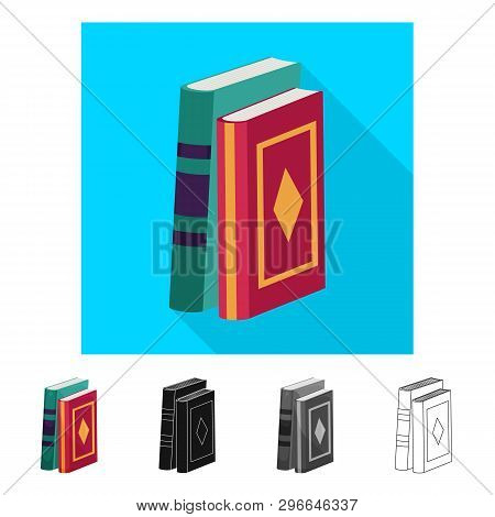 Vector illustration of book and text sign. Set of book and encyclopedia  stock vector illustration. poster
