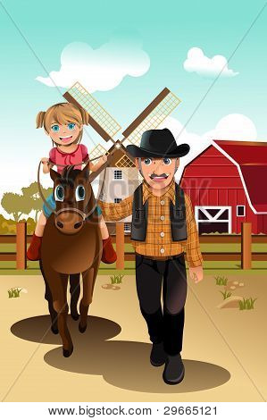 A vector illustration of a little girl riding a horse with her grandfather poster