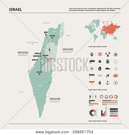 Vector Map Of Israel.  High Detailed Country Map With Division, Cities And Capital Jerusalem. Politi