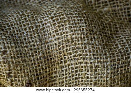 Macro Closeup Of A Jute Jute Fabric, Sackcloth Texture, Old Vintage Fabrics, Burlap Background