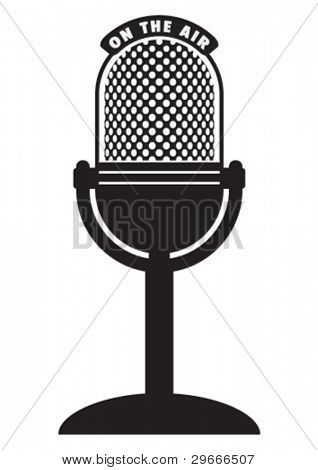 Vector retro microphone isolated on a white background.