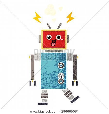 retro illustration style cartoon of a crazed robot