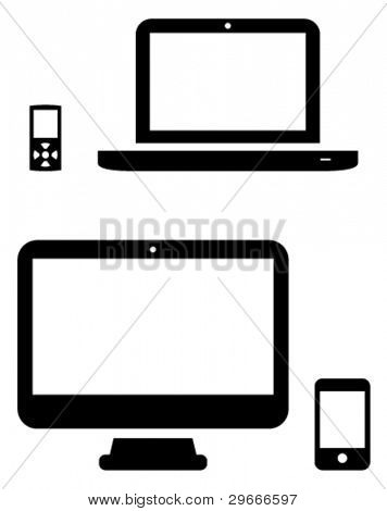 Vector icons of MP3 player, laptop, desktop and phone.