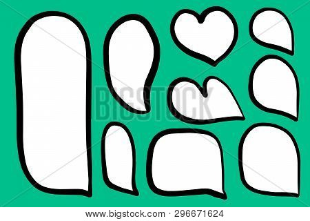 Set Of Different Form Speech Bubbles Heart Hand Drawn Illustration On Turquoise Font