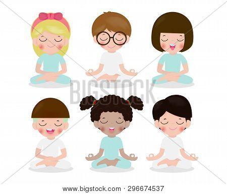 Collection Of Kid Meditating In Lotus Pose. Cute Cartoon Children Yoga And Meditation Vector Illustr