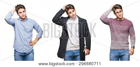 Collage of young handsome business man over isolated background confuse and wonder about question. Uncertain with doubt, thinking with hand on head. Pensive concept.