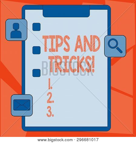 Handwriting Text Tips And Tricks. Concept Meaning Means Piece Advice Maybe Suggestion How Improve Cl