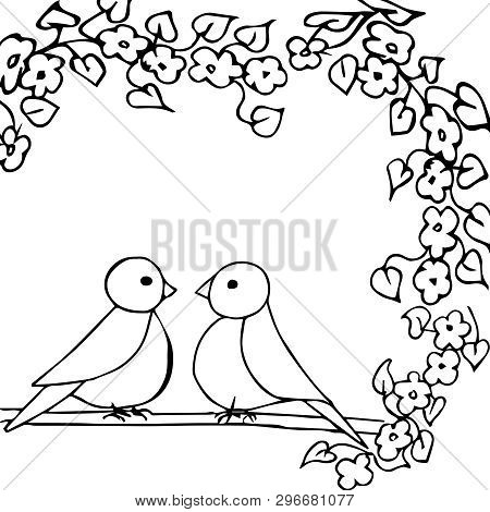 Black White Vector Illustration. Two Little Birds Are Sitting On A Flowering Branch. Template For A