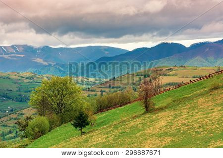 Rural Countryside In Mountains. Village In The Distant Mountain. Agricultural Fields On Hills. Trees