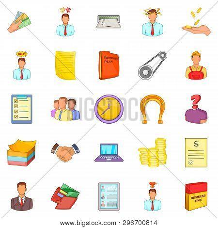 Hard Work Icons Set. Cartoon Set Of 25 Hard Work Icons For Web Isolated On White Background