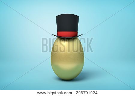 3d Rendering Of Golden Egg Wearing Black Tophat Standing With Much Copy Space On The Rest Of Light B