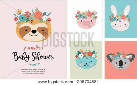 Cute Animals Heads With Flower Crown, Vector Illustrations For Nursery Design, Poster, Birthday Gree